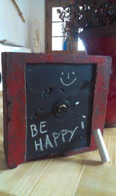 """Concrete clock """"Be Happy"""""""