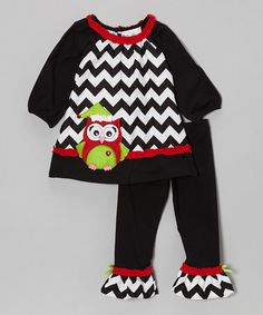 Love this Black & Red Zigzag Owl Tunic & Leggings - Girls by Rare Editions on #zulily! #zulilyfinds
