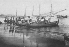 Barcos do Tejo ( River Tejo boat types)  - Canoas grandes, Algés/Pedrouços, Oeiras in revista municipal nº 62, 1954