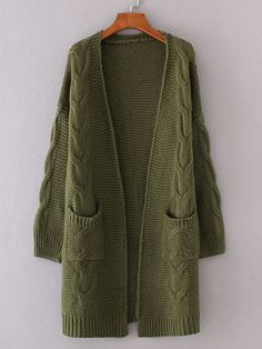 To find out about the Cable Knit Longline Chunky Cardigan at SHEIN, part of our latest Sweaters ready to shop online today! Strick Cardigan, Chunky Cardigan, Cable Knit Cardigan, Cable Knit Sweaters, Green Cardigan, Longline Cardigan, Cheap Cardigans, Knitwear Fashion, Outfits