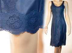 Beautiful silky soft semi sheer french navy nylon and delicate matching lace trim 1970's vintage full slip petticoat  by Margret - 2479