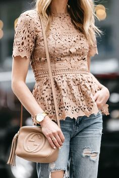 Beige Lace Peplum top Z❤️ Trend Fashion, Fashion Mode, Fashion Outfits, Jeans Fashion, Gucci Fashion, Peplum Top Outfits, Casual Outfits, Peplum Tops, Pink Top Outfit