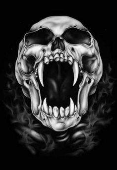 crânes dessin Illustrations - picture for you Evil Skull Tattoo, Skull Tattoo Design, Skull Design, Skull Tattoos, Body Art Tattoos, Aztecas Art, Screaming Skull, Vampire Skull, Airbrush Art