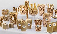 Wedding Candy Buffet Supplies – Wedding Candy Bar – Party City - New Site Candy Bar Party, Candy Bar Wedding, Wedding Gold, 50th Party, 60th Birthday Party, Gatsby Party, Gold Candy Buffet, Candy Buffet Tables, Candy Buffet Signs