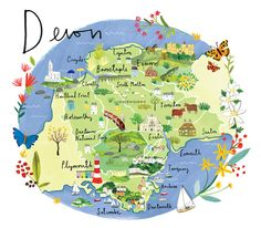 Devon Map Art Print at Whistlefish - handpicked contemporary & traditional art that is high quality & affordable. Devon Map, South Devon, England Map, Devon England, Cornwall England, Devon Holidays, British Holidays, Devon And Cornwall, Cornwall Map