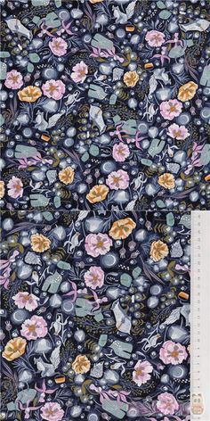 navy blue cotton fabric with woodlands animals like foxes squirrels birds with pink and orange flowers, Material: 100% cotton, Fabric Type: smooth cotton fabric #Cotton #Flower #Leaf #Plants #USAFabrics