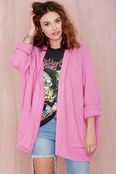 UNIF Hole Cardigan - Pink | Shop What's New at Nasty Gal