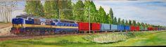 Loc 1200 and belgium diesel hauling a container train