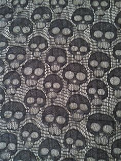 Black Skull lace fabric, Skull fabric, Dem Bone fabric, vogue lace fabric sk111810 by the yard