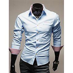 V's Trendy Business Splicing Long Sleeve Shirt(Blue)
