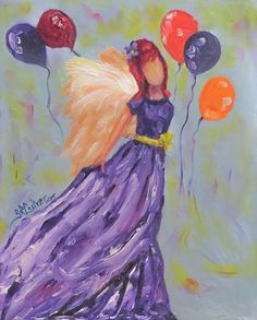 Angel, party time, balloons, textured original oil painting by Sandra Cutrer #sandracutrerfineart