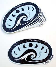 A rad sticker with our Big Wave design. An ode to the sea and the phases of the moon. Designed by us in Washington, from an original block print and printed in Oregon, this sticker is PNW through and