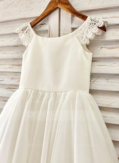 A-Line/Princess Scoop Neck Tea-length Sash Tulle Short Sleeves Flower Girl Dress Flower Girl Dress