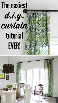 How to Make Curtains the easy way! This is an awesome post on how to make curtains the easy way! Full tutorial by Designer Trapped in a Lawyer's Body. No Sew Curtains, Home Curtains, How To Make Curtains, Kitchen Curtains, Kitchen Curtain Designs, Lined Curtains, Grommet Curtains, Farmhouse Style Curtains, Rustic Curtains