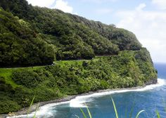 See the road on that mountain?  Its the Road to Hana on Maui, the most beautiful, scenic drive I've ever been on!