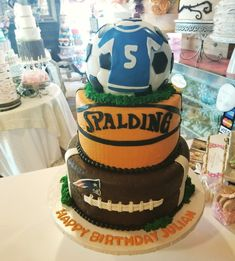Sports themed birthday cake #carinaedolce www.carinaedolce www.facebook.com/carinaedolce Sports Theme Birthday, Themed Birthday Cakes, Childrens Parties, Facebook, Party, Desserts, Food, Meal, Deserts