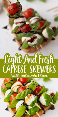 Caprese Skewers With Balsamic Glaze Recipe – light and fresh Caprese salad on a stick. Party style appetizer made with just four main ingredients and wooden skewers. Skewer Appetizers, Cold Appetizers, Healthy Appetizers, Appetizers For Party, Appetizer Recipes, Salad Recipes, Healthy Snacks, Healthy Eating, Healthy Recipes