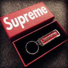 Supreme Box Logo Metal Pendant Keychain Key Ring With Box Grills Teeth, Supreme Clothing, Box Logo, Daddys Girl, Bape, Hypebeast, Key Rings, Fashion Brand, Supreme Logo