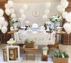 Best Baby Shower Ides For Girs Vintage First Birthday Parties Ideas Baptism Party Decorations, First Communion Decorations, First Communion Party, First Holy Communion, Vintage First Birthday, First Birthday Parties, First Birthdays, Christening Party, Baby Baptism