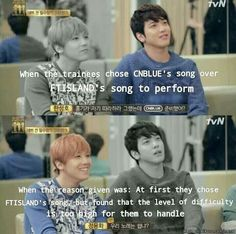Hongki & Yonghwa's reaction when the trainees chose to sing CNBlue's song. LOL. | allkpop Meme Center
