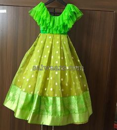 Indian kids dresses for sale , light green kids frocks Baby Girl Frocks, Frocks For Girls, Dresses Kids Girl, Baby Dresses, Long Frocks For Kids, Indian Dresses For Kids, Cotton Frocks For Kids, Kids Indian Wear, Girls Dresses Sewing
