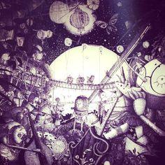 「絵本『オルゴールワールド』(原案・タモリ/絵と文・にしのあきひろ)の表紙イラスト。 この絵本を描く為に、キュウフン(台湾)と屋久島にロケハンに行きました。 使っている画材は0.03ミリのボールペン一本です。 #drawing #絵本 #屋久島」