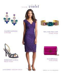 A purple lace dress for a wedding, great for spring and summer weddings or as a classic mother of the bride dress.