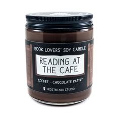 Reading at the Cafe Soy Candle by Frostbeard Studio. Coffee + Chocolate + Books! The Original Book Candles! Book Lovers Soy Candles - Bookish Gift - Bibliophile - Scented Candle