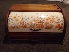 Vintage Floral Tin Wood Roll Top Bread Box Unique Retro Modern Kitchen Decor
