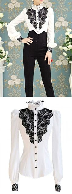 White With Black Lace Stand Collar Puff Sleeve Shirt