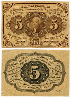 Five-cent US Postal Currency, first issue, featuring Thomas Jefferson. Gold, silver and copper coins were horded at the start of the Civil War and postages stamps became a popular form of currency; however the adhesive back was a serious impediment. On July 17, 1862, Congress authorized printing of Postal Currency notes in the denominations of 5, 10, 25 and 50 cents.