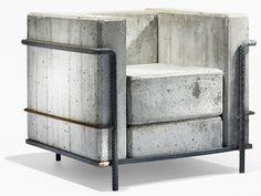http://www.cosasdearquitectos.com/2012/08/sillon-lc2-de-le-corbusier-realizado-con-hormigon/      Sillón LC2 de Le Corbusier realizado con hormigón    El diseñador suizo Stefan Zwicky ha realizado esta reinterpretación de la butaca LC2 de Le Corbusier transformándola en una pieza monolítica de mobiliario que expresa al peso y la naturaleza propia del hormigón.