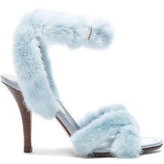 Valentino Mink Fur Ankle Strap Heels ($1,495) ❤ liked on Polyvore featuring shoes, heels, sandals, wrap around shoes, high heel shoes, fur shoes, leather sole shoes and valentino shoes