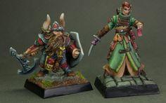 Painted Reaper Bones Dwarf and Human mini