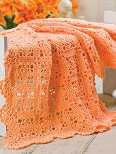 Lacy Squares With Scallop Edging Crochet Pattern Download from…