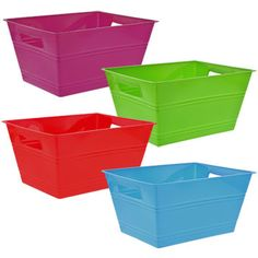 Exceptional Bulk Colorful Rectangular Plastic Bins With Handles At DollarTree.com