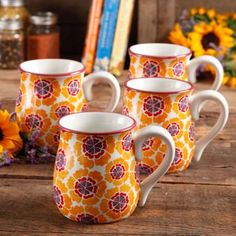 The Pioneer Woman Flea Market 18 oz Decorated Belly Mugs, Orange & Purple, Set of 4 - Walmart.com