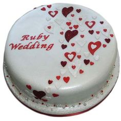 Free UK delivery on all cakes with each cake handmade to order. Book your Ruby Wedding Anniversary Cake easily online or call us on 01753 374 726 40th Wedding Anniversary Cake, Golden Anniversary Cake, Anniversary Cake Designs, Happy Anniversary Cakes, Ruby Anniversary, Anniversary Pictures, Ruby Wedding Cake, Wedding Cakes, Engagement Cakes