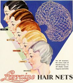 A spectrum of different coloured Lorraine Hair Nets, 1932. #vintage #1930s #hair