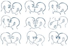 How to draw 2 people kissing