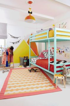Craft stylist and contributor Amanda Kingloff tells us how she turned her kids' hodgepodge bedroom into an airy space to sleep, play, and grow.