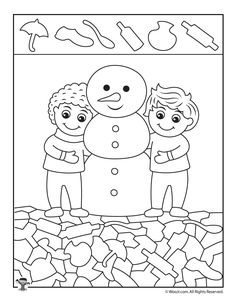 Friendly Snowman Winter Activity Page