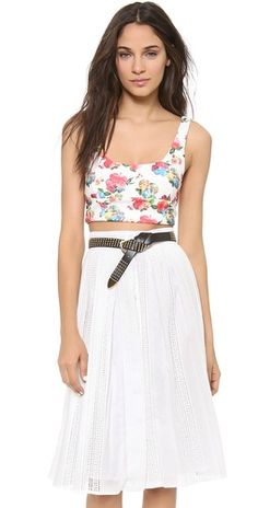 re:named Floral Waffle Crop Top | SHOPBOP