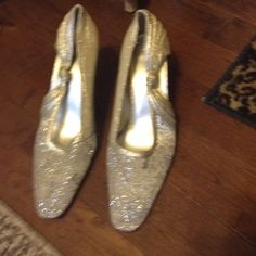 """High heels Silver high heels. About 2"""" tall. Slightly worn. Shoes Heels"""