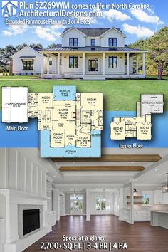 Plan Expanded Farmhouse Plan with 3 or 4 Beds Architectural Designs Modern Farmhouse Plan was stunningly built in North Carolina by our client, Lee Thornton Builders, for The Bentley Group. bedrooms, 4 baths and sq. The Plan, How To Plan, Modern Farmhouse Plans, Farmhouse Style Kitchen, Farmhouse Decor, Farmhouse Layout, Craftsman Farmhouse, Dream House Plans, My Dream Home