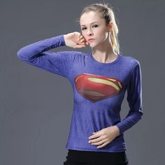Lovely Women T-shirt Bodys Marvel Captain America/superman/batman/spiderman Compression T Shirt Girl Fitness Tights Trainning Orders Are Welcome. Shirts Sports Clothing