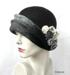 Grey Felted Hat felt hat Cloche Hat Fapper 1920 Hat Art Gray dece5ae39d89