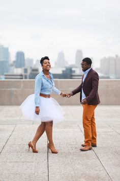 Choose clothes that draw the eye to your face and not your body, and yet make you feel comfortable and cute! Love this funky color combo. Black Love Couples, Cute Couples, Engagement Couple, Engagement Session, Eliza Jane, Tulle Skirts, Black Families, Courthouse Wedding, Couple Outfits