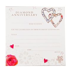 60th Diamond Wedding Anniversary Invitations Hearts Beautifully printed high quality Diamond Wedding Anniversary invitations from Hammond Gower. These invitations have a heart design and match the Diamond Anniversary Heart Guest Book. The single sided invitations are supplied in a pack of 8 invitations and envelopes and each invitation measures 12cm square. The wording on each invitation is:... http://www.soraiseyourglasses.com/prod/60th-diamond-wedding-anniversary-invitations-hearts