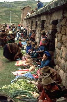 """For years the market in Chinchero has been held beside the ruins of an Inca emperor's palace, an important Inca center. Tupa Inca, who reigned in the end of the fourteenth century, built Chinchero as his country estate."""